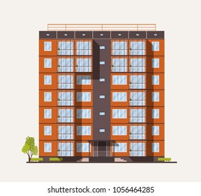 Exterior or facade of tall city apartment building built with concrete prefabricated panels or blocks in modern architectural style isolated on white background. Flat colorful vector illustration.