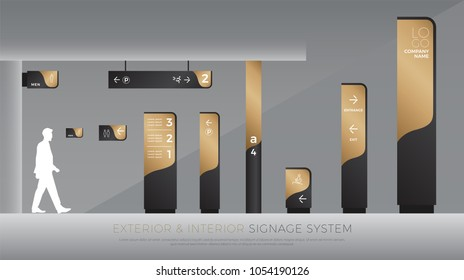 exterior and interior signage concept. direction, pole, wall mount and traffic signage system design template set. empty space for logo, text, black and gold corporate identity