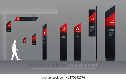 exterior and interior signage concept. direction, pole, wall mount and traffic signage system design template set. empty space for logo, text, black and red corporate identity