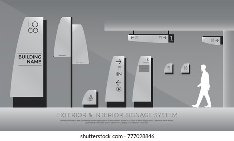exterior and interior signage curve concept. direction, pole, wall mount and traffic signage system design template set. empty space for logo, text, color corporate identity
