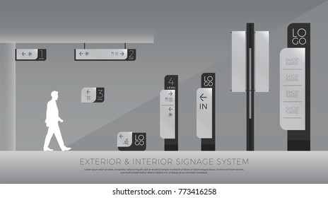 exterior and interior signage. direction, pole, wall mount and traffic signage system design template set. empty space for logo, text, color corporate identity