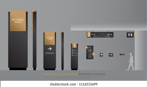 exterior and interior signage. directional, pole, and traffic signage system design template set. empty space for logo, text gold and black corporate identity