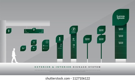 exterior and interior signage. directional, pole, and traffic signage system design template set. empty space for logo, text green color corporate identity