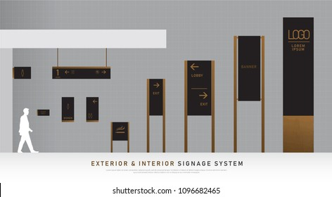 exterior and interior signage wooden concept. direction, pole, wall mount and traffic signage system design template set. empty space for logo, text, black and wood corporate identity