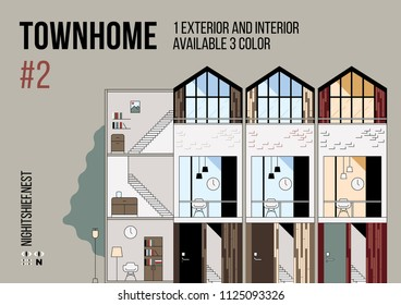 Exterior and Interior of Townhome Vector