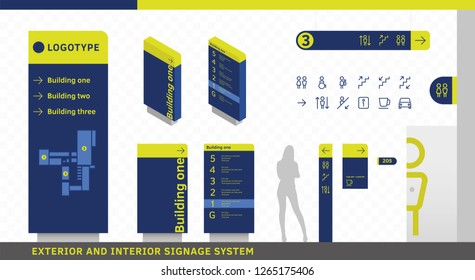 Exterior and interior wayfinding signage. Signage system design template set. EPS 10 illustration.
