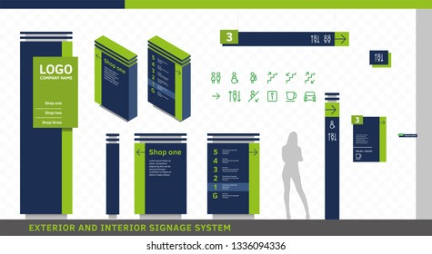 Exterior and Interior Wayfinding Signage System. Directional, Wall Mount, Door Signage Program Design Template with Navigation Icon Set.