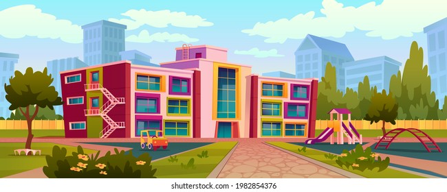 Exterior of kindergarten building and yard with swings and toys for children to play. Playground with trees and lush greenery, playtime and recreation outdoors for kids. Realistic 3d cartoon vector