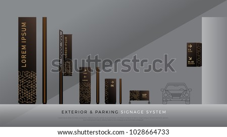 exterior and parking signage. direction, pole, wall mount and traffic signage system design template set. empty space for logo, text, color corporate identity
