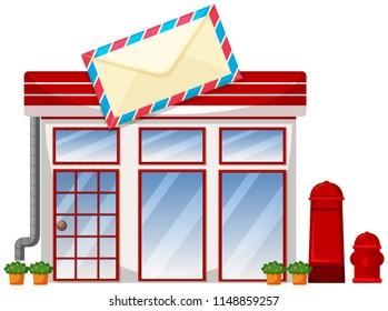 Exterior of post office illustration