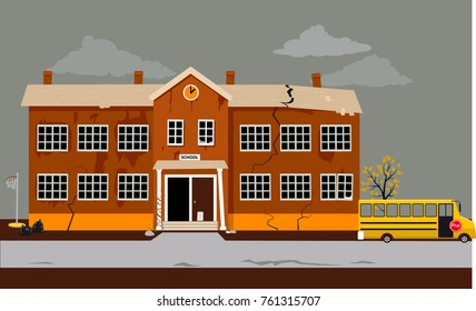 Exterior of a school building in poor shape in need of repair, EPS 8 vector illustration