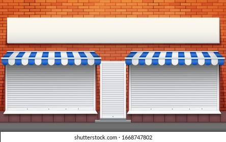 Exterior of shop facade with closed storefront and door. Facade of brick wall and Closed Roller Shutters. Shop Street view. Vector Illustration.