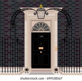 Exterior shot of 10 Downing Street, London. flat vector illustration