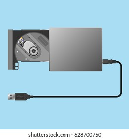 External optical DVD drive open or eject with USB connector disc read write
