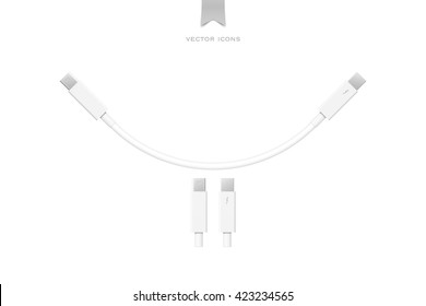 external peripherals interface cable isolated on white background. vector PCI Express and Display Port icons design. computer peripheral or monitor high speed connector supply. vector thunderbolt sign