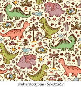 Extinct animals. Prehistoric Reptiles. Cute Cartoon Dinosaur Vector Seamless pattern. Hand drawn doodle Dinosaurs: Tiranossauro Rex, Triceratops, Stegosaurus, Diplodocus and Plants