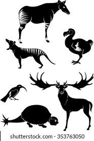 Extinct Animals-Variation of extinct species against white background