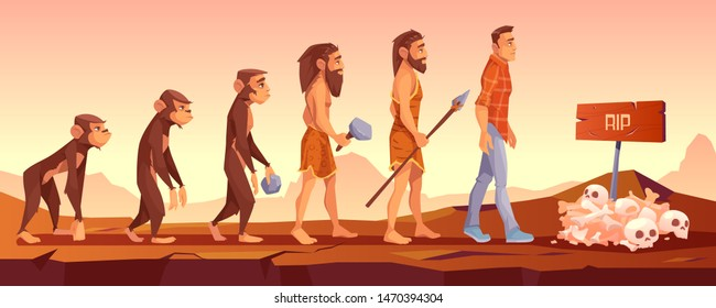 Extinction of human species, evolution time line, monkey turn to upright homo sapience, male character evolve from ape to modern man going to grave with sculls and rip sign Cartoon vector illustration
