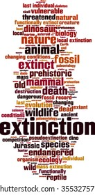 Extinction word cloud concept. Vector illustration