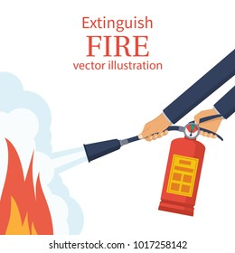 Extinguish fire. Fireman hold in hand fire extinguisher. Vector illustration flat design. Isolated on white background. Protection from flame. Show training instructions. Foam from nozzle.