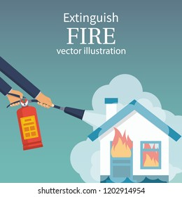 Extinguish fire in home. Burning house. Fireman hold in hand fire extinguisher. Vector illustration flat design. Isolated on white background. Protection from flame. Foam from nozzle.