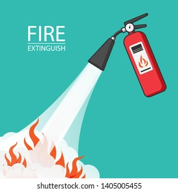 Extinguish fire. Vector illustration flat design. Isolated on background. Protection from flame. Foam from nozzle. - Vector