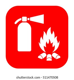 Extinguisher and fire safety vector sign on white background