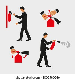 Extinguisher instructions. Figures are the order of actions. Vector drawing