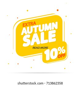 Extra Autumn Sale, discount 10% off, bubble banner, element design template, design template, app icon, vector illustration
