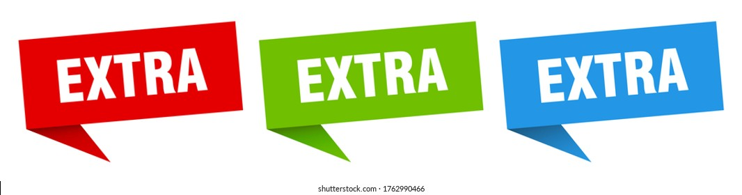 extra banner. extra speech bubble label set. extra sign