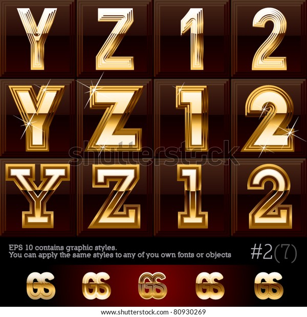 Extra Beveled Gold Font Plus Graphic Stock Vector (Royalty