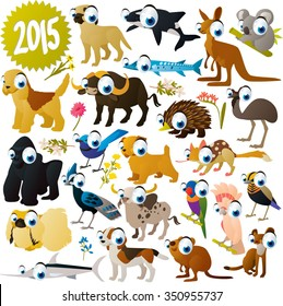 extra big set of funny colorful comic cartoon animals , birds and fish. Collection for animal lovers. Illustration for books, apps, stickers, labels, logos, icons or banners
