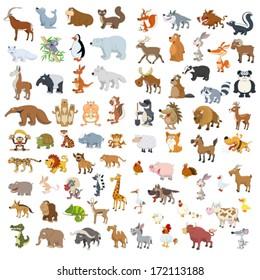 Extra big vector animals and birds set