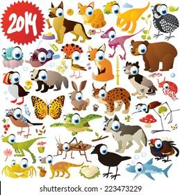 extra big vector cartoon animals set