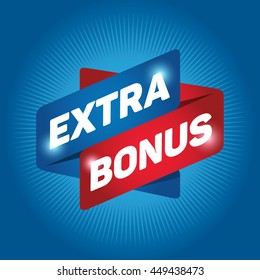 EXTRA BONUS arrow tag sign icon. Special offer label. Cyan background.