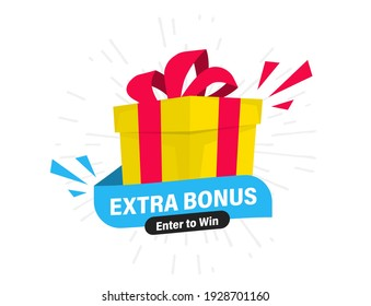 Extra Bonus Label for promo design. Discount, Surprise banner. Extra bonus, vector illustration with a gift. Modern Web Banner, Element with Surprise gift box for marketing promotion design