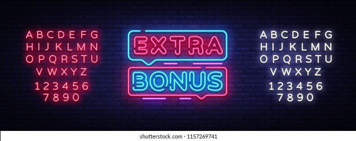 Extra Bonus neon sign vector. Bonus neon text Design template neon sign, light banner, signboard, nightly bright advertising, light inscription. Vector Illustration. Editing text neon sign