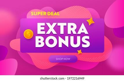 Extra Bonus, Super Deal Banner, Promotion and Shopping Template for Hot Offer and Sale. Flyer Design, Social Media Placard, Presentation Digital or Printable Promo Advertising. Vector Illustration - Shutterstock ID 1972216949