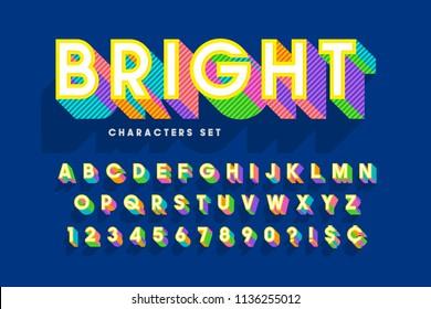 Extra bright 3d display font design, alphabet, letters
