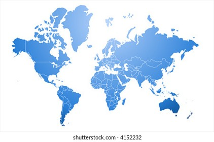 Extra detailed border map of the world