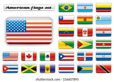 Extra glossy button flags. Big American set. 24 Vector flags. Original size of USA flag included.