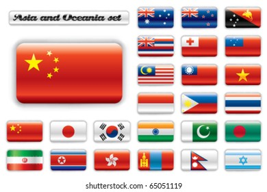 Extra glossy button flags. Big Asian & Oceania set. 24 Vector flags. Original size of China flag included.