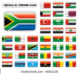 Extra glossy button flags. Big Africa & Middle East set. 36 Vector flags. Original size of South Africa flag included.