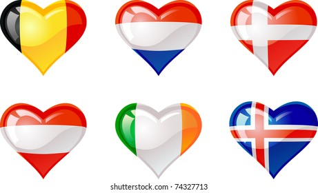 Extra glossy vector Flag heart, are good for: icon, button, design, decoration,  symbol.