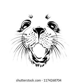 Extra happy  ringed seal face. Smiley cat. Funny infantile outline animal sketch  for coloring book. Mammal print for shirt. Doodle cartoon  mammalian