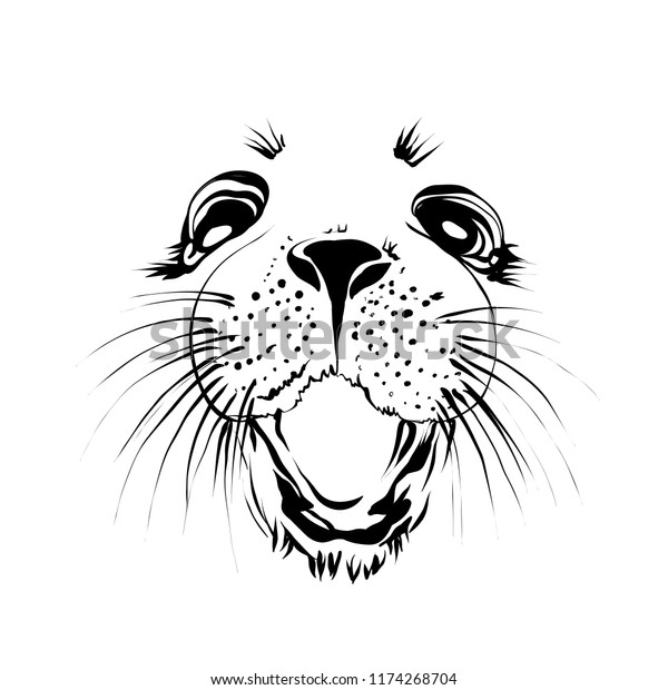 Extra Happy Ringed Seal Face Smiley Stock Vector (Royalty Free