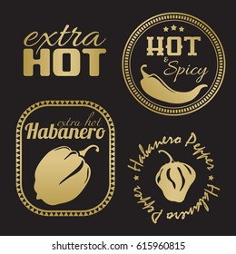 Extra hot chili and habanero pepper labels. Gold and black color