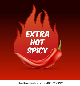 Extra hot and spicy chili paper poster, badge or banner template with fire, isolated on dark background.  Fresh and organic food illustration.Vector illustration. EPS 10