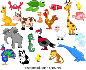 Extra large set of animals including elephants, giraffes, peacocks, a panda, a sea horse, jellyfish, rooster, chicken, kangaroo, dolphin, fish, turkey, cow, turtle, cat, crab, lamb