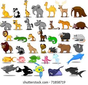 Extra large set of animals including lion, kangaroo, giraffe,